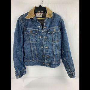 Vintage Lee Storm Rider Denim Jacket Wool Lined